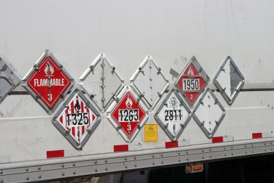 Hazmat labels on trailer